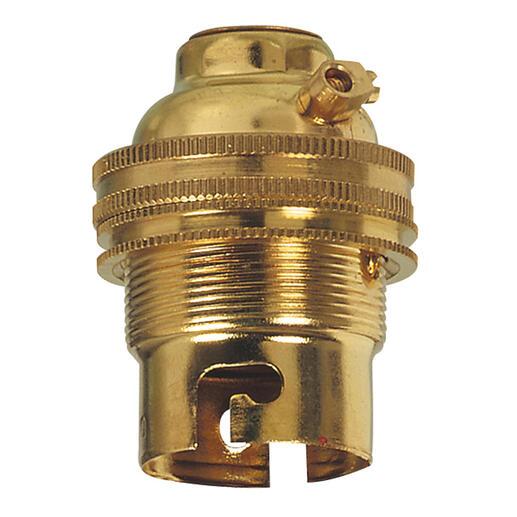 Douille pour ampoule B22 - avec bague - sortie de câble droite - laiton