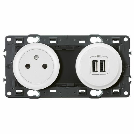 Prise de courant avec terre Céliane Surface et double chargeur USB - Blanc