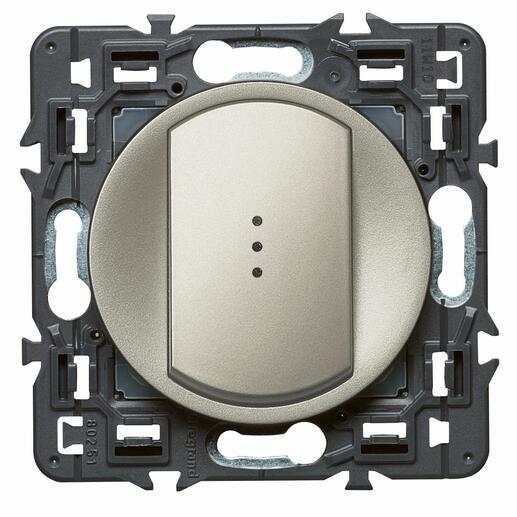 Interrupteur ou va-et-vient lumineux (voyant fourni) Céliane Soft - 10A - Titane