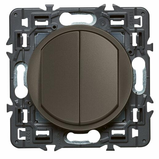 Double interrupteur ou va-et-vient Céliane Soft - 10A - Graphite