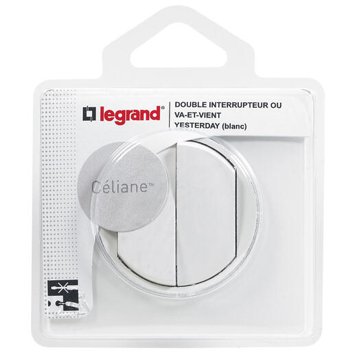 Double interrupteur ou va-et-vient avec plaque Céliane Soft - Blanc