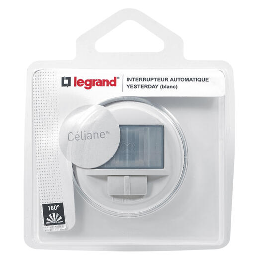 Interrupteur automatique avec plaque Céliane - 400W toutes lampes - Blanc