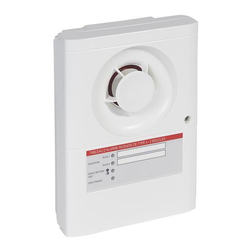 Tableau d'alarme incendie de type4 avec alimentation secteur et 2 boucles pour déclencheurs manuels
