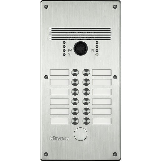 Platines monobloc antivandales à bouton poussoir Linea 300 pour 9 à 12 appels façade Inox