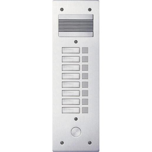 Platine de rue Série 200 audio étroite façade Alu 4mm 8 appels