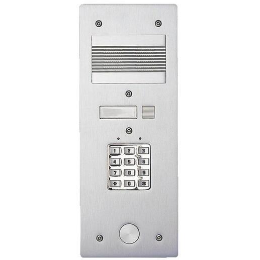 Platine de rue Série 200 audio étroite avec clavier codé façade Alu 4mm 1 appel