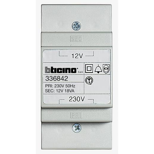 Alimentation alternative 230V/12V~ ou transformateur pour éclairage porte-étiquette - 3 modules DIN