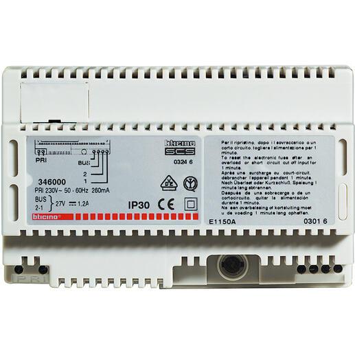 Alimentation modulaire MyHOME BUS 230V~ 27V= 1,2A pour diffusion sonore ou portier - 8 modules
