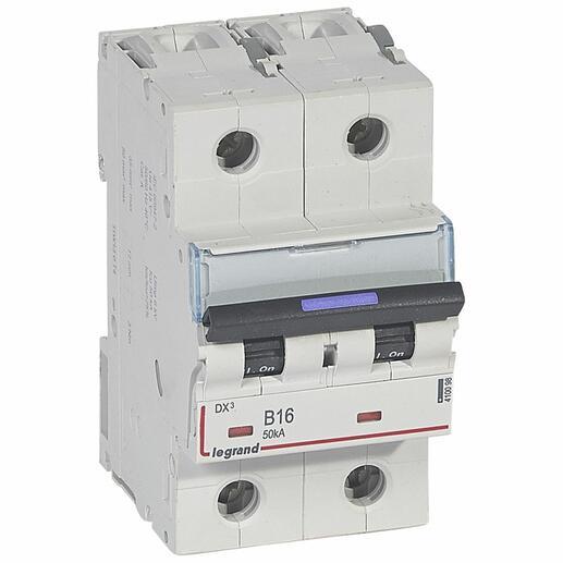 Disjoncteur DX³ 50kA arrivée haute et départ bas à vis 2P 230V~ à 400V~ - 16A - courbe B - 3 modules