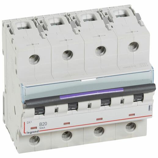 Disjoncteur DX³ 50kA arrivée haute et départ bas à vis 4P 400V~ - 20A - courbe B - 6 modules