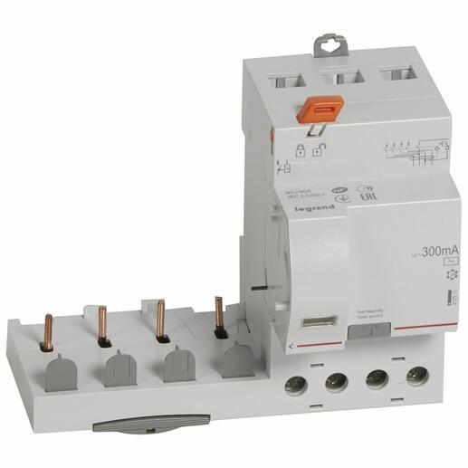 Bloc différentiel adaptable à vis DX³ pour disjoncteur 1 module par pôle - 4P 400V~ - 40A - typeAC 300mA