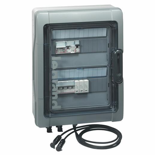 Coffret Plexo³ photovoltaïque IP65 pré-équipée et pré-câblé 3kWc DC + AC pour 1 ou 2 chaînes - 2 rangées de 12 modules