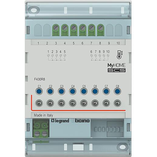 Actionneur modulaire 8 relais indépendants gestion de température MyHOME BUS - 4 modules