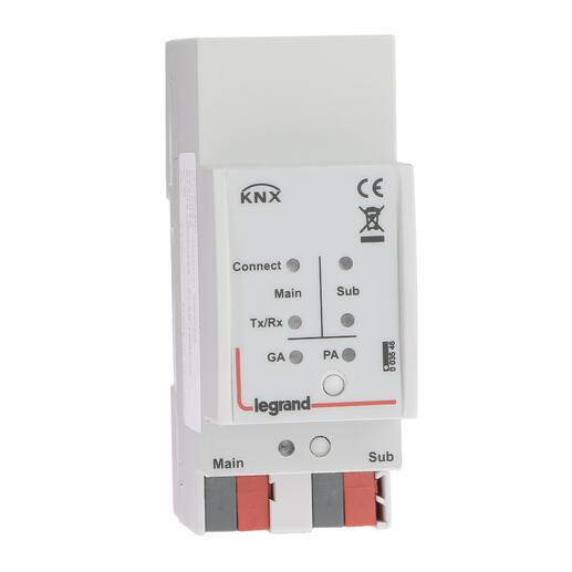Coupleur de ligne modulaire pour isolation galvanique entre lignes BUS KNX - 2 modules