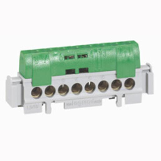Bornier de répartition isolé IP2X terre - 8 connexions 1,5mm² à 16mm²- vert - longueur 75mm