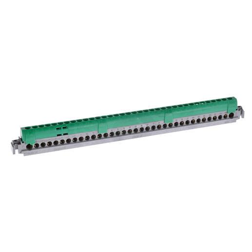 Bornier de répartition isolé IP2X terre - 2 connexions 6mm² à 25mm² - vert - longueur 276mm