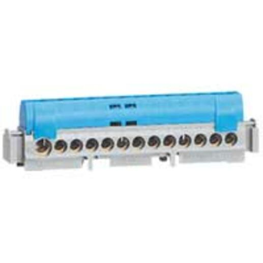 Bornier de répartition isolé IP2X neutre - 1 connexion 6mm² à 25mm² - bleu - longueur 113mm