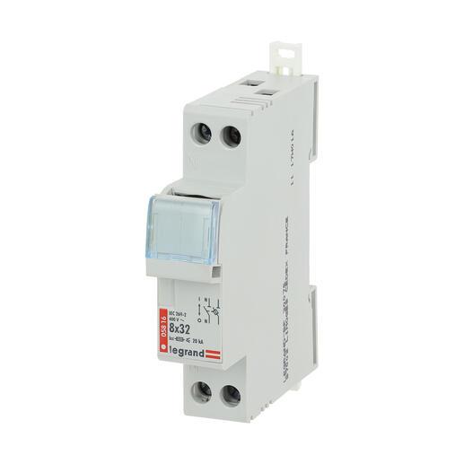Coupe-circuit sectionneur unipolaire+neutre pour cartouche cylindrique industrielle typeaM ou gG 8x32mm - 400V~