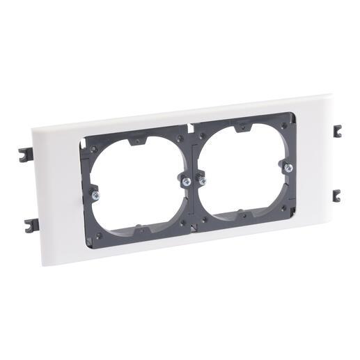 Support universel 2 postes pour goulotte DLP monobloc avec couvercle 85mm