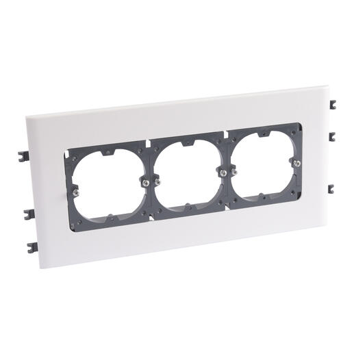 Support universel 3 postes pour goulottes DLP monobloc avec couvercle 130mm en horizontal