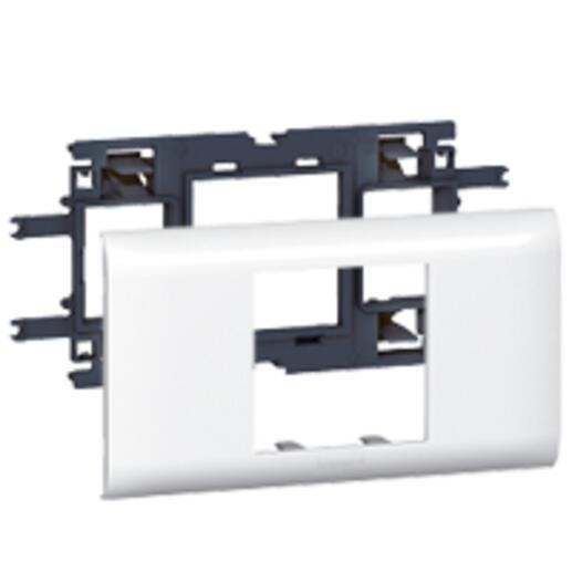 Support Mosaic 2 modules pour goulotte DLP monobloc avec couvercle 65mm