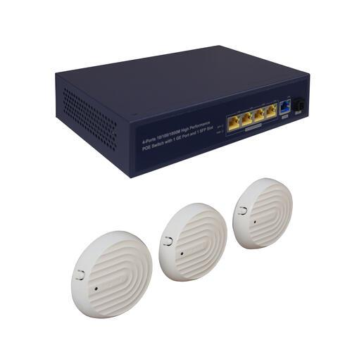 Pack petit tertiaire Wi-Fi PoE avec 3 points d'accès et 1 switch