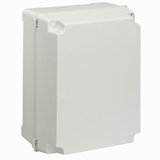 Boîtier industriel plastique IP55 IK08 - 359x265x154mm avec couvercle opaque 2 verrous