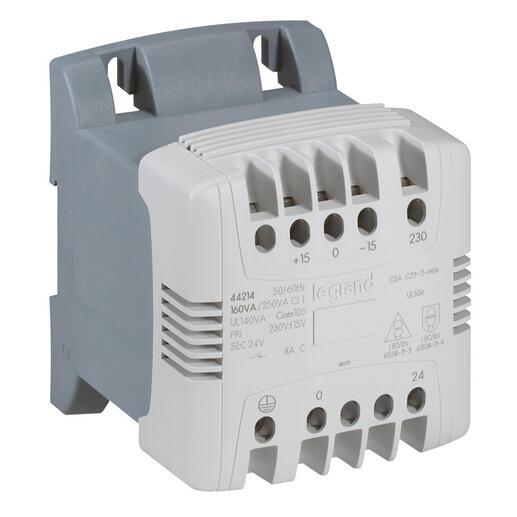 Transformateur de commande et sécurité à connexion à vis primaire 230V à 400V et secondaire 24V~ - 40VA