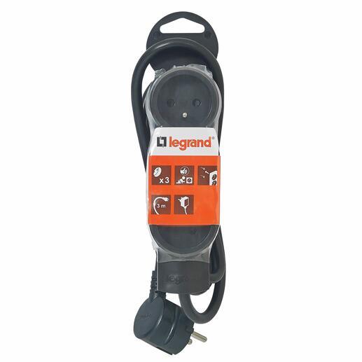 Rallonge 3 prises de courant - cordon 3m - Noir