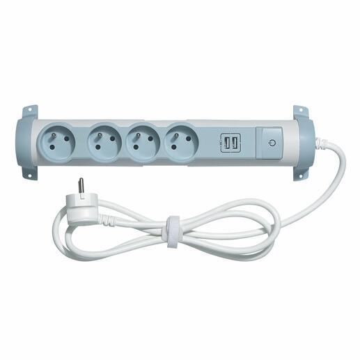Rallonge multiprise 4 prises de courant 2P+T 16A 230V + 2 modules de charge USB 2,4A - blanc et gris