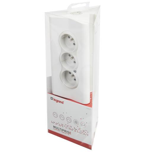 Rallonge 3 prises de courant avec support tablette intégré - blanc/gris