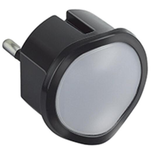 Veilleuse crépusculaire automatique avec LED haute luminosité et fiche 2P 10A - noir