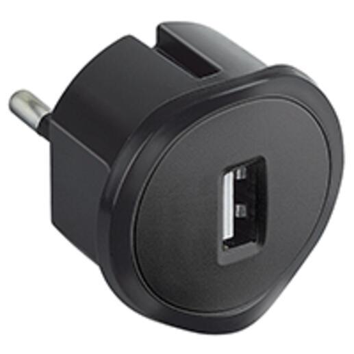Chargeur USB 5V 1,5A maximum avec fiche 2P 10A et encombrement réduit - noir