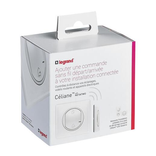 Commande Départ/Arrivée pour installation connectée Céliane with Netatmo avec plaque Laqué Blanc