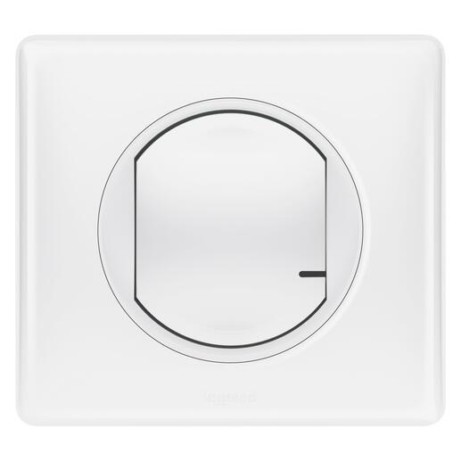 Interrupteur à option variateur à câbler pour installation connectée Céliane with Netatmo avec plaque Laqué Blanc