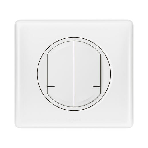 Interrupteur double à câbler 2 circuits 250W pour installation connectée Céliane with Netatmo avec plaque Laqué Blanc