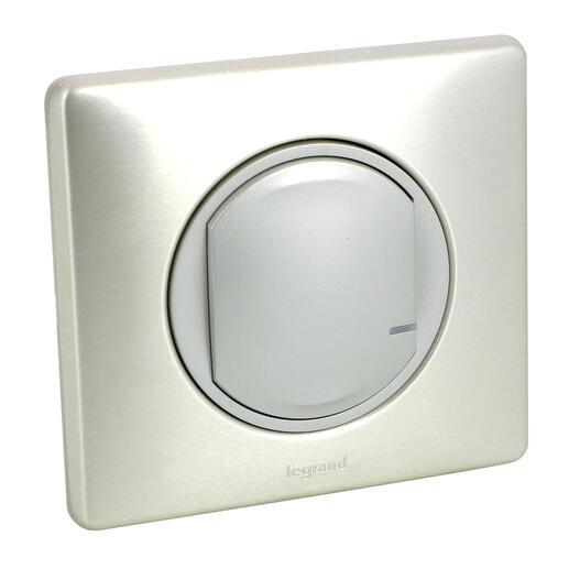 Interrupteur à option variateur à câbler pour installation connectée Céliane with Netatmo avec plaque Métal Titane