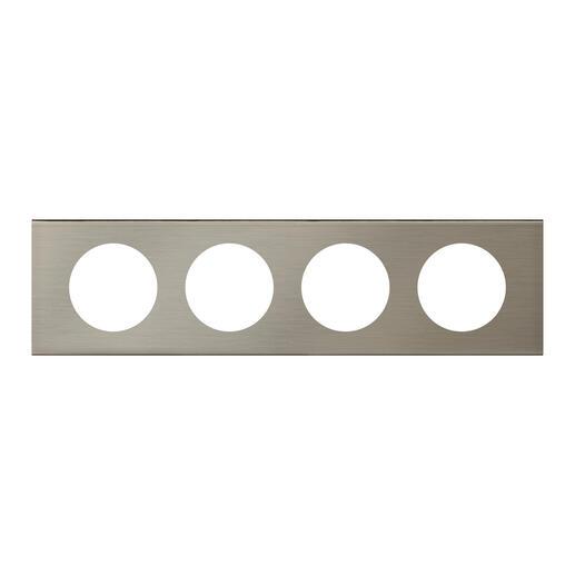 Plaque de finition Céliane - Matière Inox Brossé - 4 postes