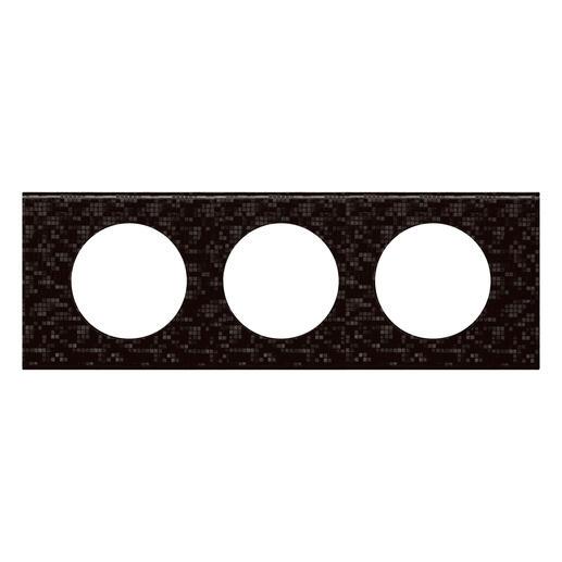 Plaque Céliane Matières 3 postes - finition Cuir Pixel