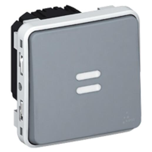 Interrupteur temporisé lumineux étanche Plexo composable IP55 230V 50Hz ou 60Hz - gris