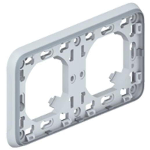 Support plaque étanche 2 postes horizontaux Plexo composable IP55 - gris