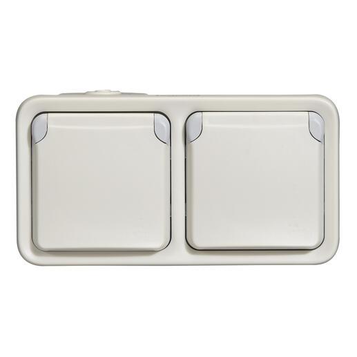 Double prise de courant avec terre Plexo apparent horizontal - Blanc