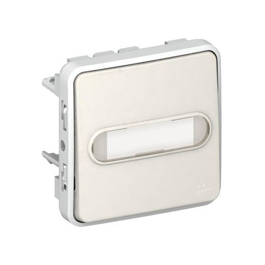 Poussoir porte-étiquette lumineux (voyant fourni) Plexo - Blanc