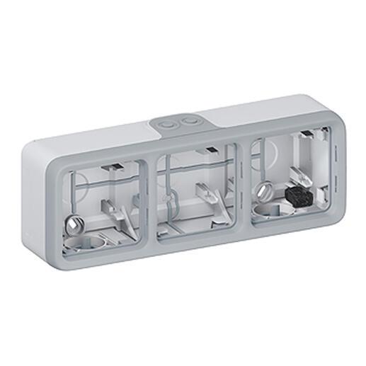 Boîtier Plexo 3 postes horizontal - pour montage en saillie - gris