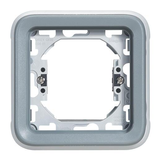 Plaque étanche support Plexo 1 poste pour montage en encastré - gris