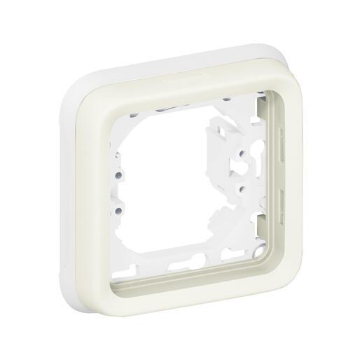 Plaque support Plexo encastré - 1 poste - Blanc