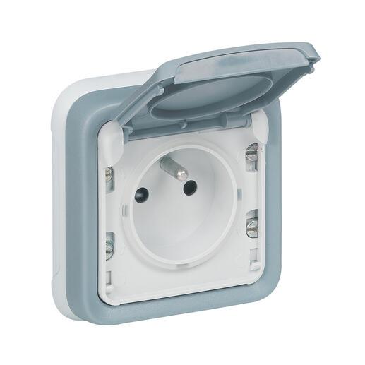 Prise de courant et volet de protection IP55 Plexo complet encastré - Gris
