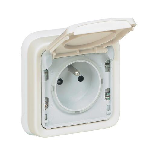 Prise de courant et volet de protection IP55 Plexo complet encastré - Blanc