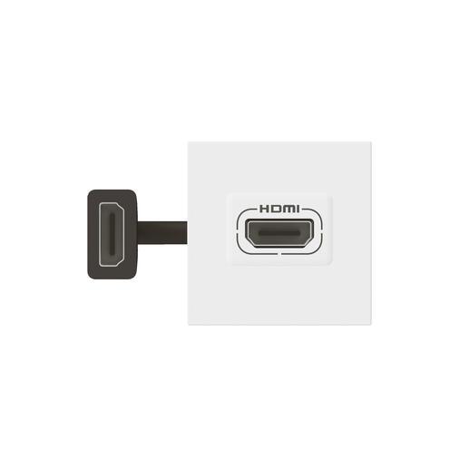 Prise HDMI Type-A version 2.0 préconnectorisée Mosaic 2 modules - blanc