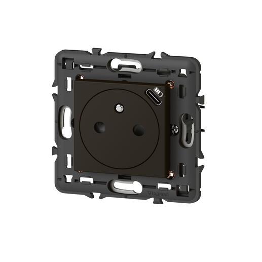 Prise de courant Surface Mosaic avec chargeur USB Type-C livrée avec support 2 modules - noir mat